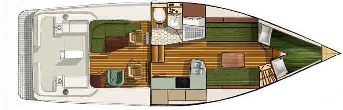 Shannon 38 HPS Interior layout 3